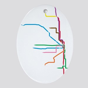 Painted Chicago El Map Oval Ornament