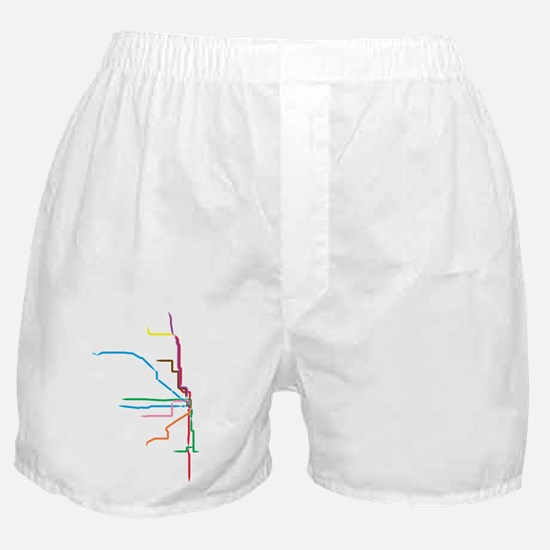 Painted Chicago El Map Boxer Shorts