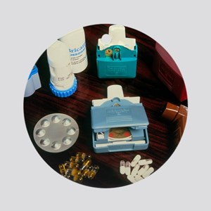 Assorted inhalers and drugs for ast Round Ornament