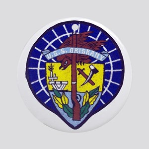 uss oriskany patch transparent Round Ornament