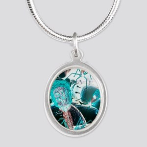 Bacteriophage virions, comput Silver Oval Necklace
