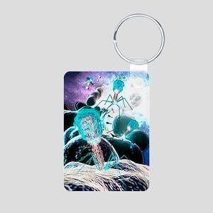 Bacteriophage virions, com Aluminum Photo Keychain