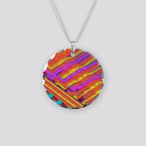 Microchip surface, SEM Necklace Circle Charm