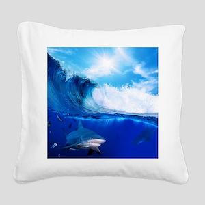 Shark Wave Square Canvas Pillow