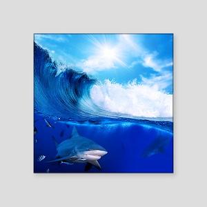"Shark Wave Square Sticker 3"" x 3"""