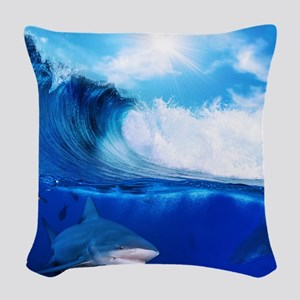 Shark Wave Woven Throw Pillow