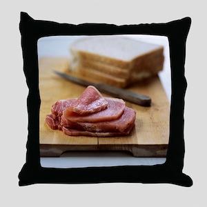 Bacon sandwich preparation Throw Pillow