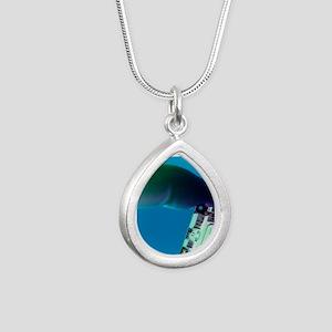 Miniature spy camera Silver Teardrop Necklace