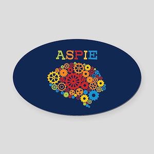 Aspie Brain Autism Oval Car Magnet
