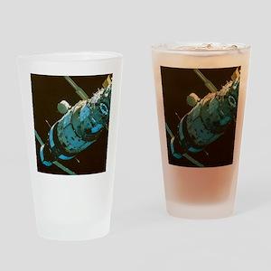Mir space station in orbit seen fro Drinking Glass