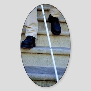 Blind man descending stairs Sticker (Oval)