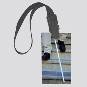 Blind man descending stairs Large Luggage Tag