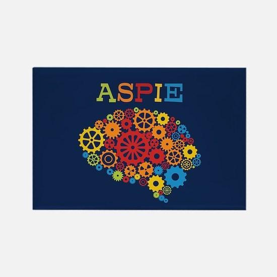 Aspie Brain Autism Rectangle Magnet