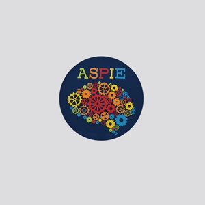 Aspie Brain Autism Mini Button