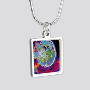 Brain malfunction Silver Square Necklace
