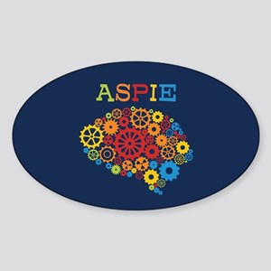 Aspie Brain Autism Sticker (Oval)