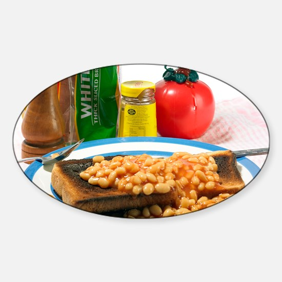 Baked beans on toast Sticker (Oval)
