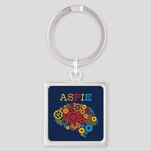 Aspie Brain Autism Square Keychain
