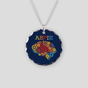 Aspie Brain Autism Necklace Circle Charm