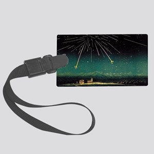 Meteor shower, historical artwor Large Luggage Tag