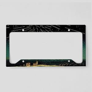 Meteor shower, historical art License Plate Holder