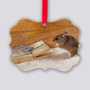 Mouse by a mousetrap Picture Ornament
