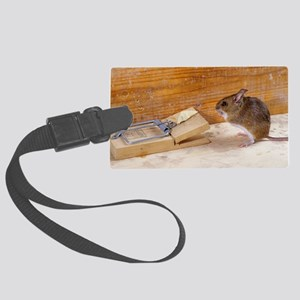 Mouse by a mousetrap Large Luggage Tag
