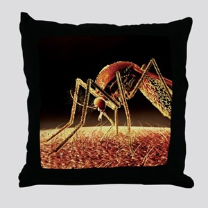 Mosquito sucking blood, computer artw Throw Pillow