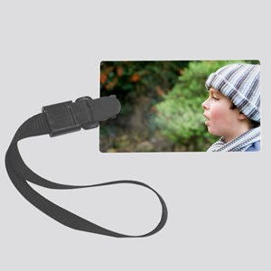 Boy's breath condensing in cold  Large Luggage Tag