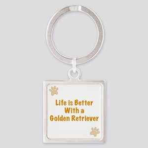 Life is better with a Golden Retri Square Keychain