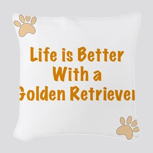 Life is better with a Golden R Woven Throw Pillow