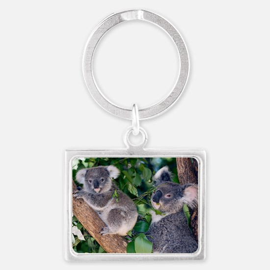 Mother koala and young Landscape Keychain