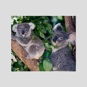 Mother koala and young Throw Blanket