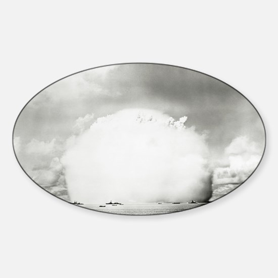 Mushroom cloud of water Sticker (Oval)