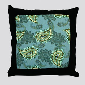 LARGE GREEN PAISLEY Throw Pillow