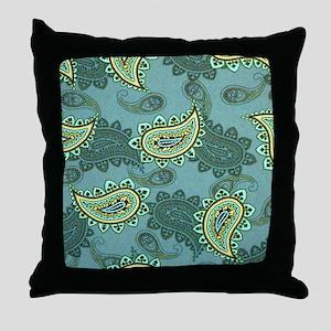 LARGE GREEN PAISLEY Throw Pillow