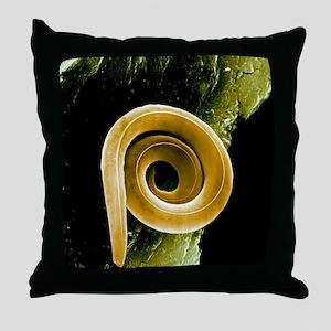 Nematode worm, SEM Throw Pillow