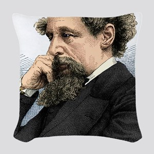 Charles Dickens, English autho Woven Throw Pillow