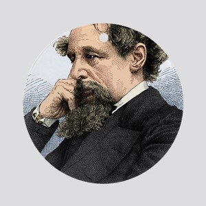 Charles Dickens, English author Round Ornament