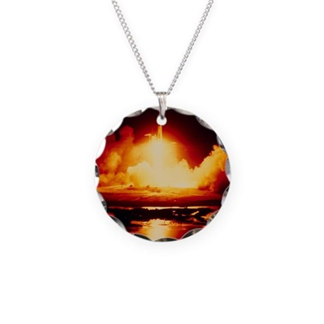 Night launch of Apollo 17 Necklace Circle Charm