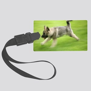 Norwegian elkhound puppy Large Luggage Tag