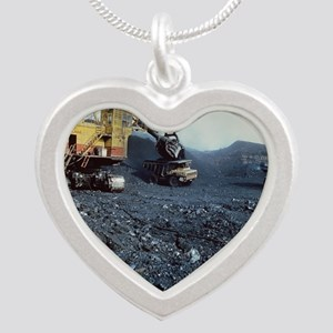 Open cast coal mining Silver Heart Necklace