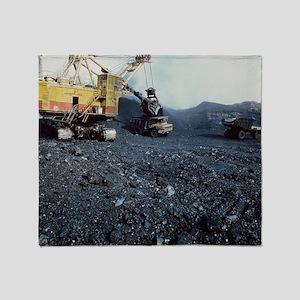 Open cast coal mining Throw Blanket