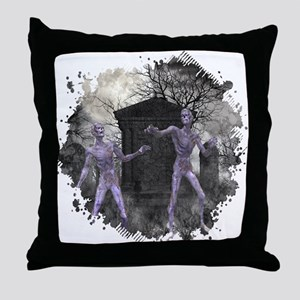 Zombies in the Graveyard Throw Pillow