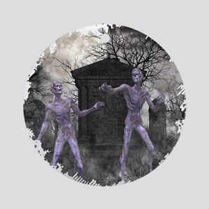 Zombies in the Graveyard Round Ornament