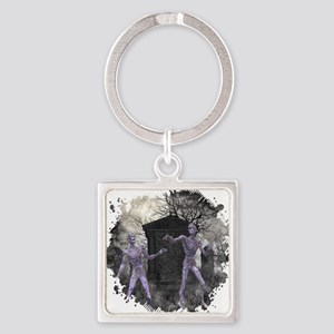 Zombies in the Graveyard Square Keychain