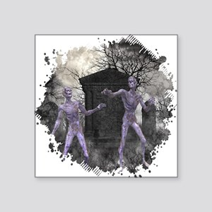 """Zombies in the Graveyard Square Sticker 3"""" x 3"""""""