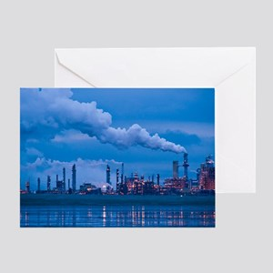Oil refinery at dusk Greeting Card