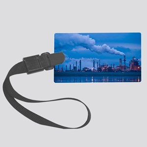 Oil refinery at dusk Large Luggage Tag