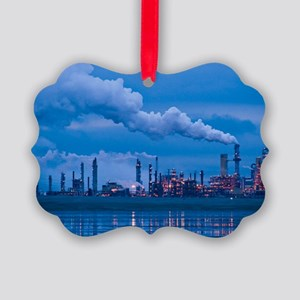 Oil refinery at dusk Picture Ornament